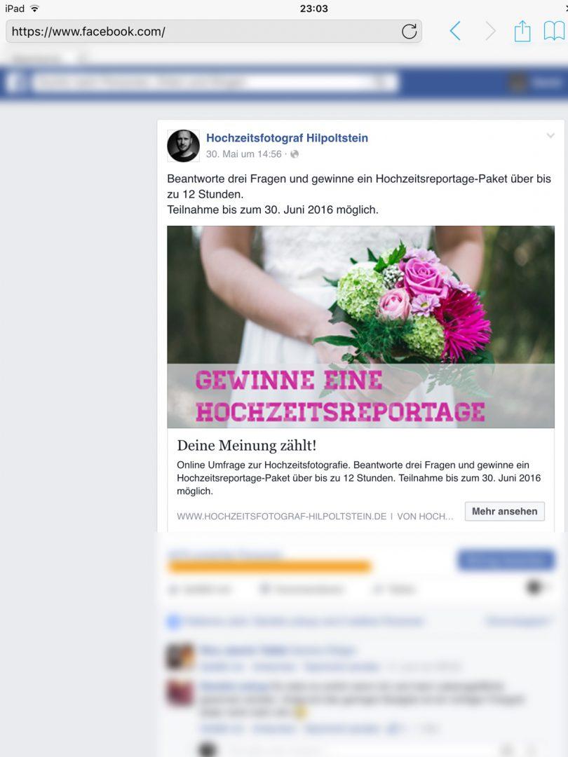 Facebook - Werbeumfrage